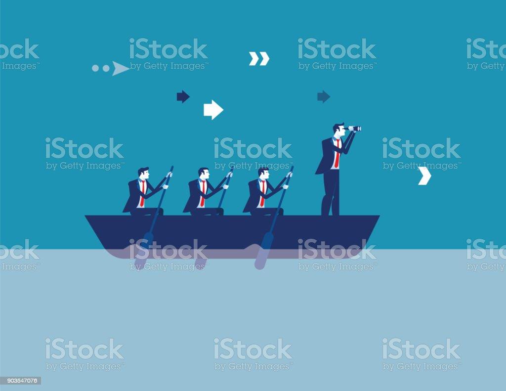 Business leadership and teamwork. Concept business vector illustration. Flat design style. vector art illustration