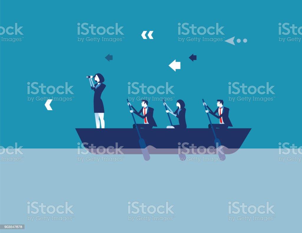 Unternehmensführung und Teamwork. Konzept-Geschäft-Vektor-Illustration. Flache Design-Stil. – Vektorgrafik