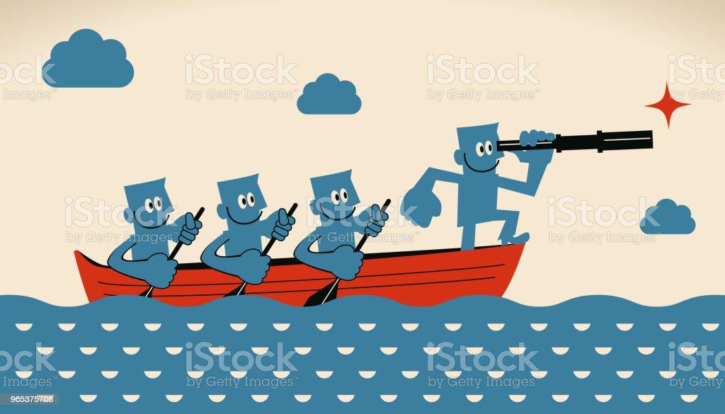 Business leadership and teamwork concept, group of smiling businessmen with oar and telescope on boat business leadership and teamwork concept group of smiling businessmen with oar and telescope on boat - stockowe grafiki wektorowe i więcej obrazów biznes royalty-free