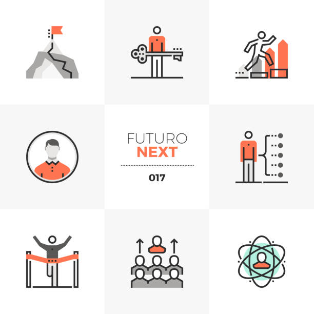 Business Leadership Futuro Next Icons Semi-flat icons set of develop leadership skills and achieve goals. Unique color flat graphics elements with stroke lines. Premium quality vector pictogram concept for web, branding, infographics. coach stock illustrations