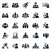 A set of business leadership icons. The icons include different leadership and management concepts and include business people, a manager with a bullhorn, a leader with his arms folded and team in the background, business teams, a manager running with briefcase, a manager giving a presentation, business people shaking hands, a business meeting with a manager at the head of the table, a leader at the helm of a ship, a manager juggling, a manager talking on two telephone handsets at one time, a business team with cogs, a business manager holding a key to a lock, business meetings, seminars, presentations, a manager holding a cog, a leader selected from a group and holding a briefcase, a leader jumping a gap, a manager holding a puzzle piece and a manager holding a lightbulb just to name a few.