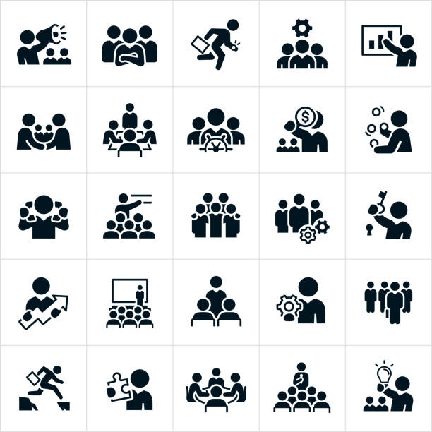 Business Leadership Icons A set of business leadership icons. The icons include different leadership and management concepts and include business people, a manager with a bullhorn, a leader with his arms folded and team in the background, business teams, a manager running with briefcase, a manager giving a presentation, business people shaking hands, a business meeting with a manager at the head of the table, a leader at the helm of a ship, a manager juggling, a manager talking on two telephone handsets at one time, a business team with cogs, a business manager holding a key to a lock, business meetings, seminars, presentations, a manager holding a cog, a leader selected from a group and holding a briefcase, a leader jumping a gap, a manager holding a puzzle piece and a manager holding a lightbulb just to name a few. meeting stock illustrations