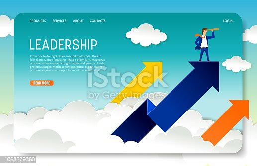 Business leader landing page website template. Vector illustration of businessman looking through telescope while standing on the up arrow. Leadership and vision concept.