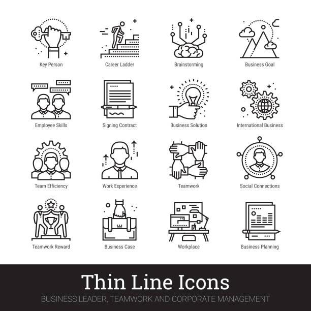 ilustrações, clipart, desenhos animados e ícones de liderança empresarial, trabalho em equipe e gestão de ícones - ceo