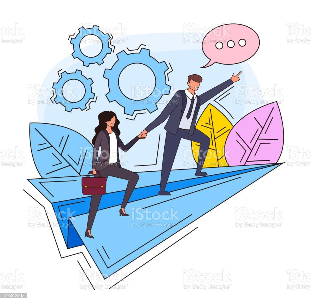 Business leadership teamwork successful business line art concept....