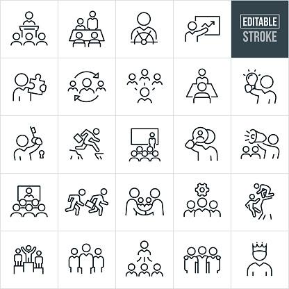 Business Leadership Thin Line Icons - Editable Stroke