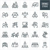A set of business leadership icons that include editable strokes or outlines using the EPS vector file. The icons include business leaders, manager, business leader giving presentation, business people in a boardroom, business leader at helm of ship, business leader holding a puzzle piece, manager with employees, manager holding a lightbulb, business leader holding a key to a lock, business person jumping over cliff, business leader training employees, business leader using a megaphone, business people at video conference, business leader leading race, handshake, business team, three business people with arms around shoulders, business leader with crown and a business leader atop a winners podium to name a few.