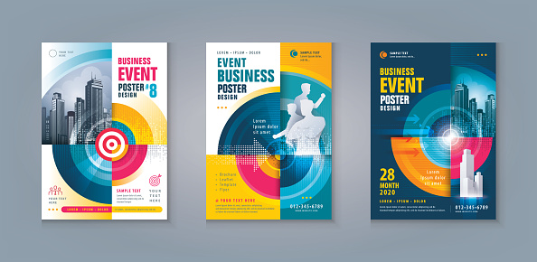Business Leaflet Brochure Flyer template Design Set. Abstract Colorful Arrow and Target,