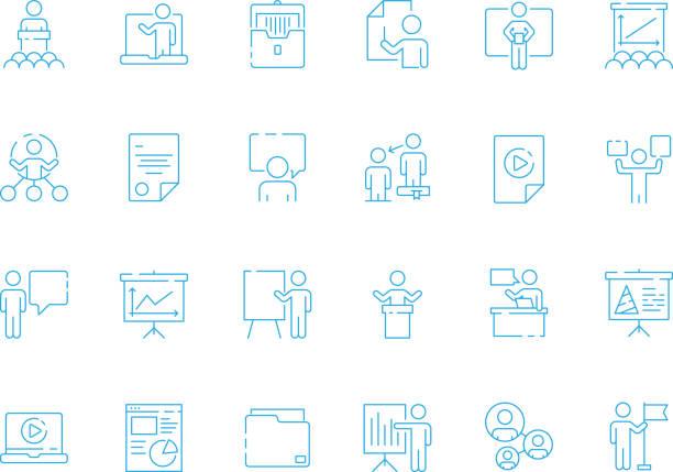 ilustraciones, imágenes clip art, dibujos animados e iconos de stock de icono de aprendizaje empresarial. presentación de gerente de la sala de conferencia coaching símbolos de presentación equipo vector - training