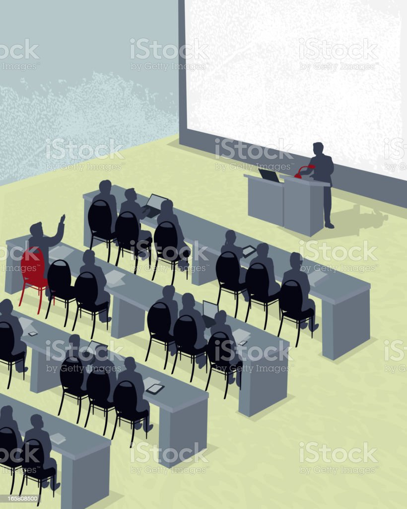 Business learning seminar with large projection screen royalty-free business learning seminar with large projection screen stock vector art & more images of audience