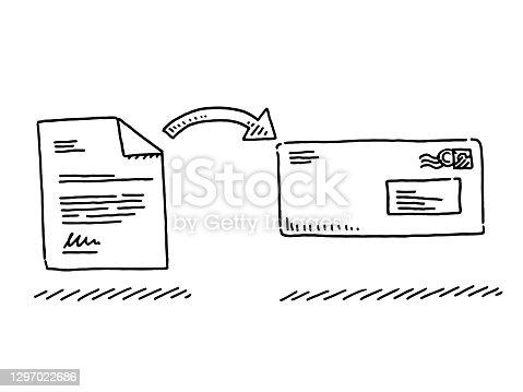 istock Business Letter Envelope Symbol Drawing 1297022686