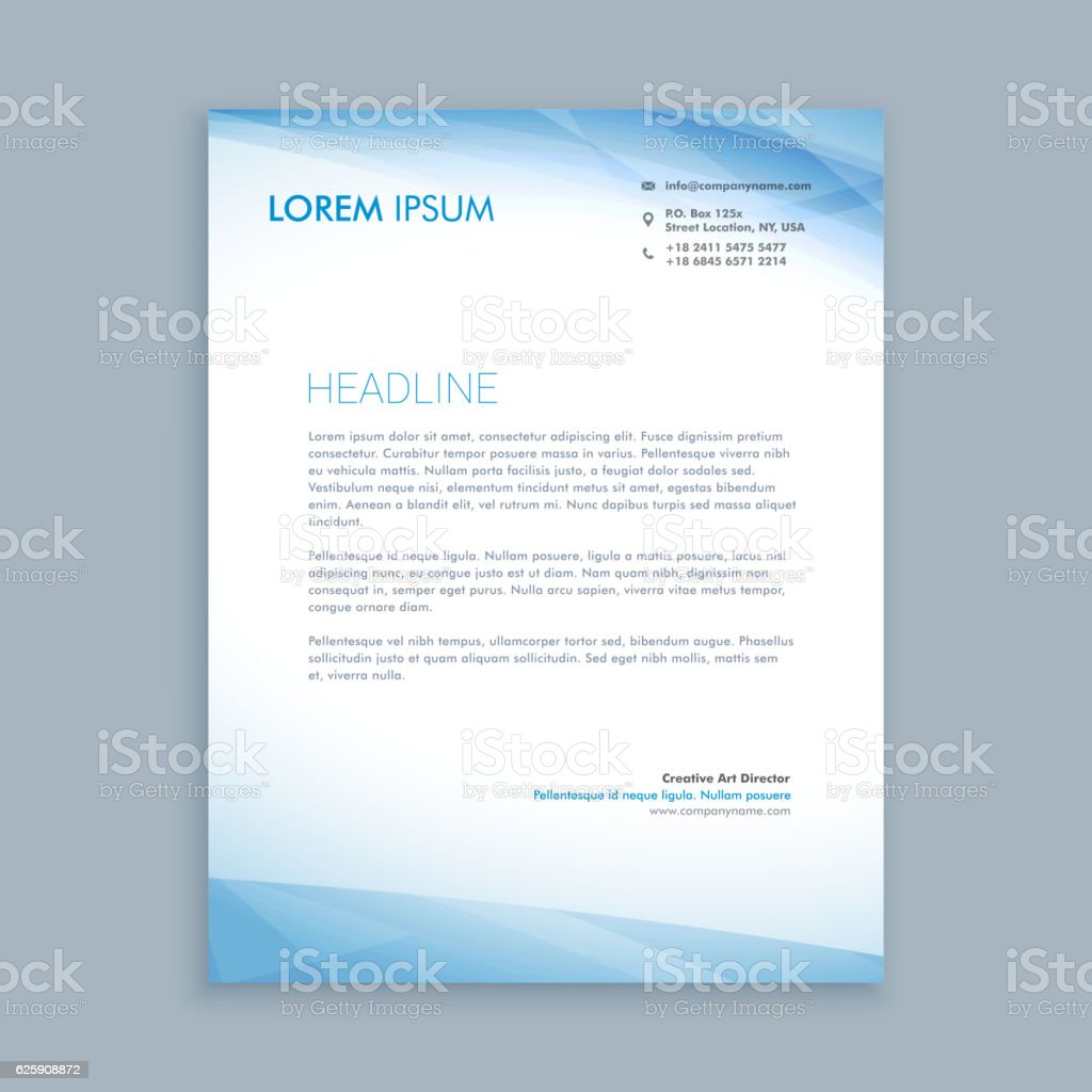 Business Letterhead Layout Template Vector Design Illustration Stock