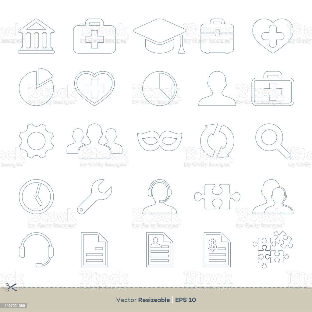 Business Line Art Set Icon Logo Template Illustration Design. Vector...