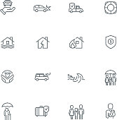 Business people insurance related line icon collection. Vector illustration set.