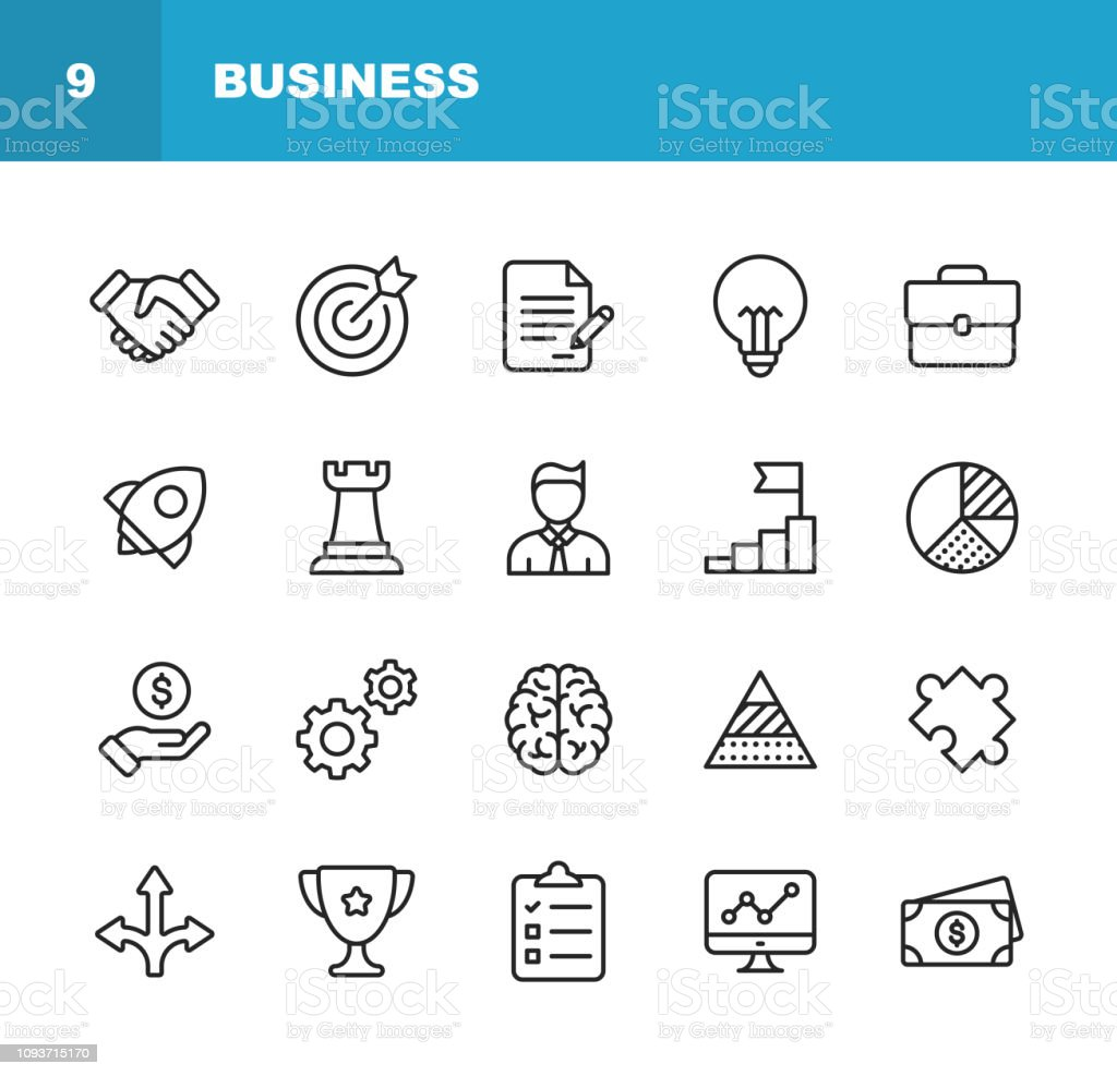Business Line Icons. Editable Stroke. Pixel Perfect. For Mobile and Web. Contains such icons as Handshake, Target Goal, Agreement, Inspiration, Startup. - arte vettoriale royalty-free di Accordo d'intesa