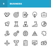 Business Line Icons. Editable Stroke. Pixel Perfect. For Mobile and Web. Contains such icons as Handshake, Target Goal, Agreement, Inspiration, Startup.