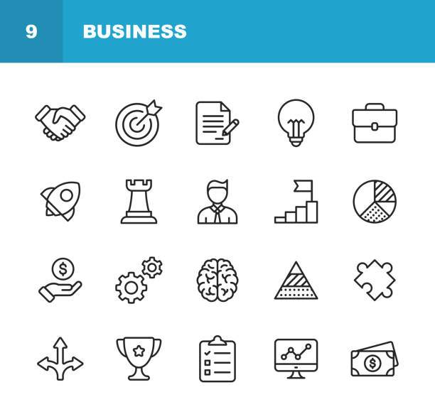 業務線圖示。可編輯的筆劃。圖元完美。適用于移動和 web。包含握手、目標目標、協定、靈感、啟動等圖示。 - 商務 幅插畫檔、美工圖案、卡通及圖標