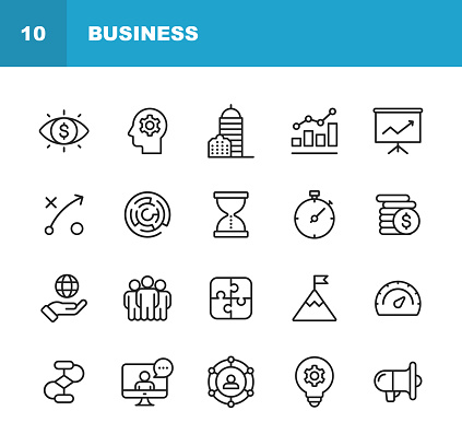 Business Line Icons. Editable Stroke. Pixel Perfect. For Mobile and Web. Contains such icons as Business Vision, Headquarters, Business Strategy, Global Economy, Network.