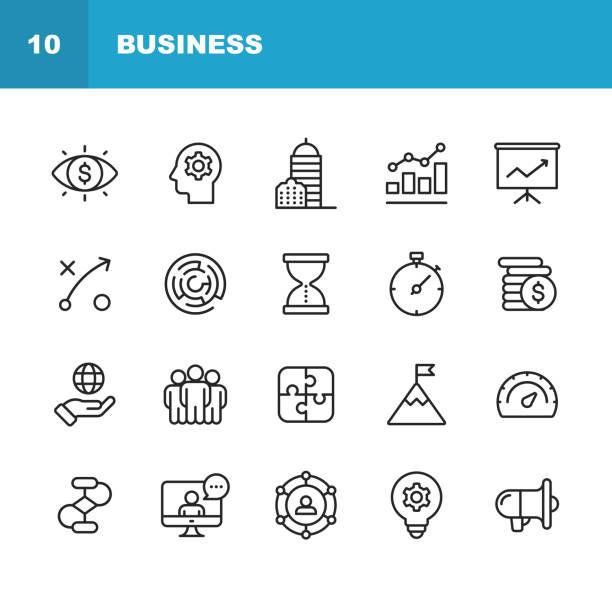 비즈니스 라인 아이콘입니다. 편집 가능한 선입니다. 픽셀 완벽 한입니다. 모바일과 웹. 사업 비전, 본부, 사업 전략, 글로벌 경제, 네트워크 같은 아이콘이 포함 되어있습니다. - 전략 stock illustrations