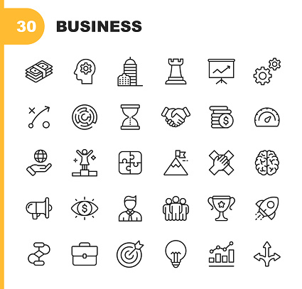 Business Line Icons. Editable Stroke. Pixel Perfect. For Mobile and Web. Contains such icons as Isometric Money, Office Building, Business Management, Business Consulting, Leadership.