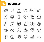 istock Business Line Icons. Editable Stroke. Pixel Perfect. For Mobile and Web. Contains such icons as Isometric Money, Office Building, Business Management, Business Consulting, Leadership. 1133795511