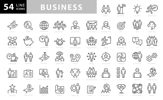 Business Line Icons. Editable Stroke. Pixel Perfect. For Mobile and Web. Contains such icons as Handshake, Target Goal, Agreement, Inspiration, Startup clipart