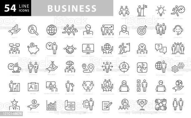 Business Line Icons Editable Stroke Pixel Perfect For Mobile And Web Contains Such Icons As Handshake Target Goal Agreement Inspiration Startup Stock Illustration - Download Image Now