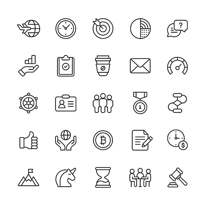 Business Line Icons. Editable Stroke. Pixel Perfect. For Mobile and Web. Contains such icons as Achievement, Agreement, Bitcoin, Business Travel, Chart, Communication,  Cryptocurrency, Document, E-Mail, Finance, Leadership, Performance, Success, Unicorn.