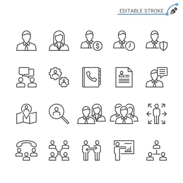 business line icons. editable stroke. pixel perfect. - unemployment stock illustrations