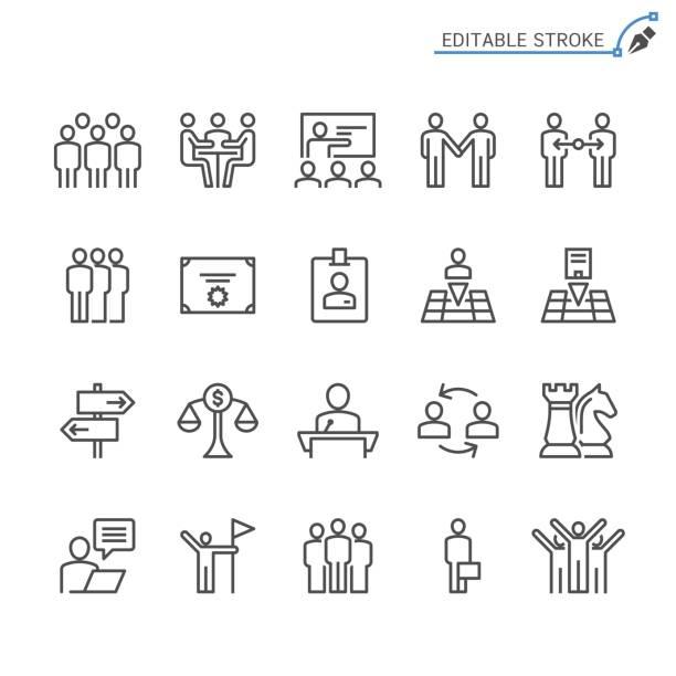 Business line icons. Editable stroke. Pixel perfect. vector art illustration
