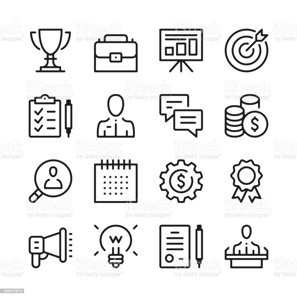 Business line icons set. Modern graphic design concepts, simple outline elements collection. Vector line icons vector art illustration