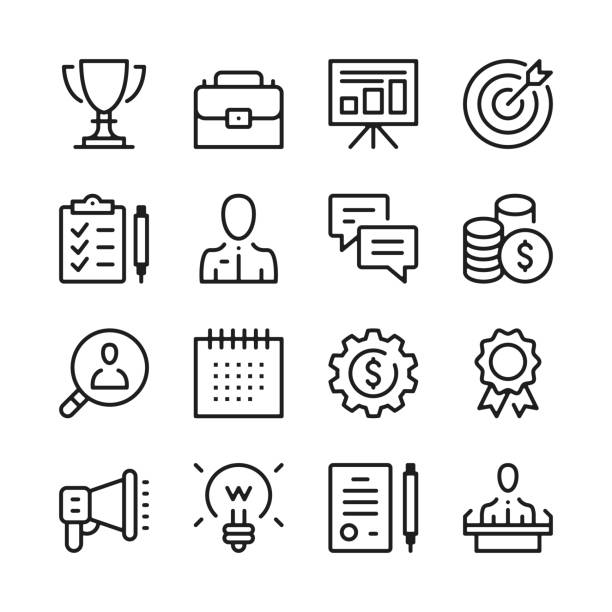 Business line icons set. Modern graphic design concepts, simple outline elements collection. Vector line icons Business line icons set. Modern graphic design concepts, simple outline elements collection. Vector line icons clipboard stock illustrations