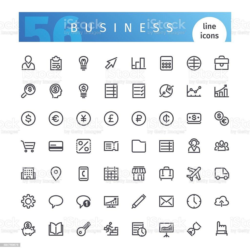 Business Line Icons Set vector art illustration