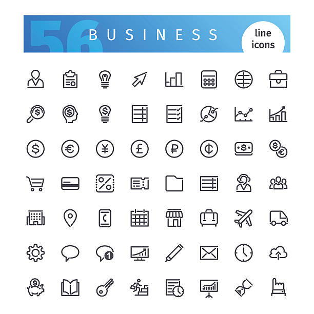 Business Line Icons Set Set of 56 business line icons suitable for gui, web, infographics and apps. Isolated on white background. Clipping paths included. japanese currency stock illustrations