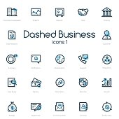 Business line icons set with blue accent