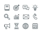 Set of business line icons, simple and clean modern vector style. Business symbols and metaphors in thin outlines with editable stroke.
