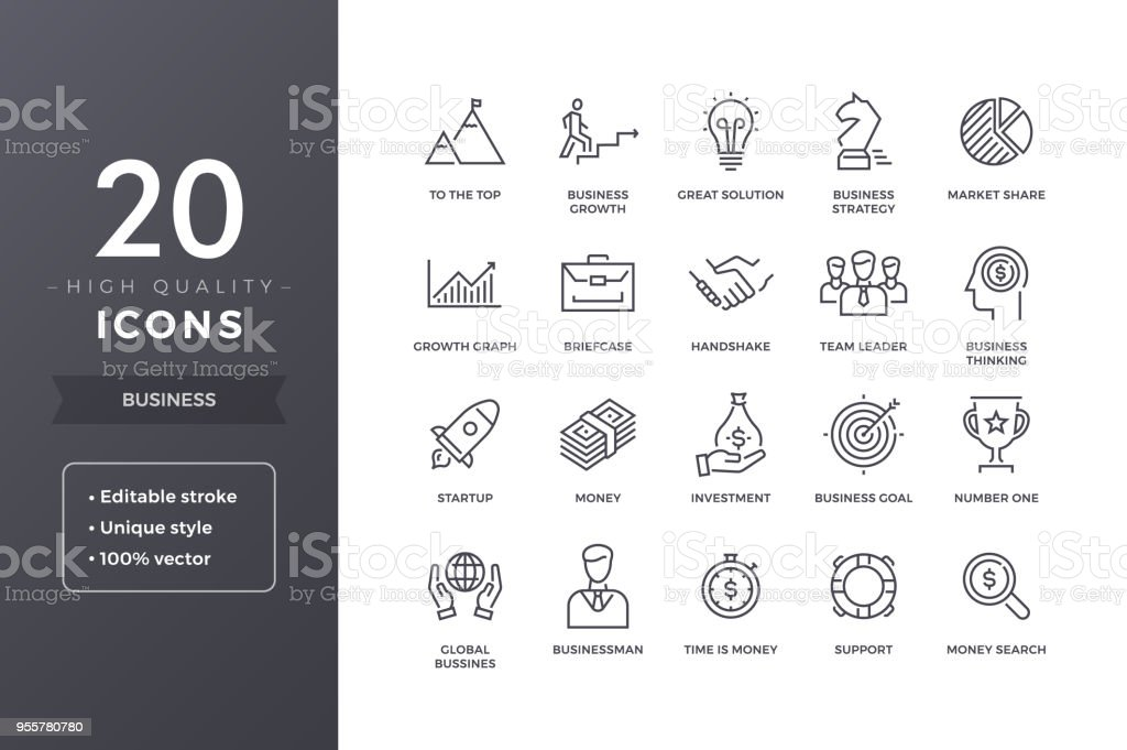 Business Line Icons royalty-free business line icons stock illustration - download image now