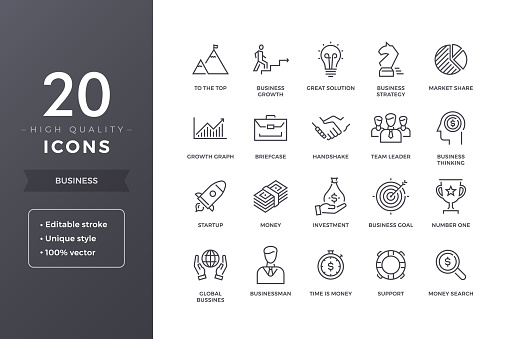 Business Line Icons clipart