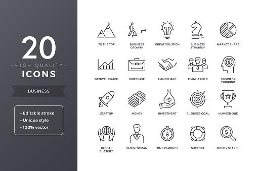 비즈니스 라인 아이콘 0명에 대한 스톡 벡터 아트 및 기타 이미지