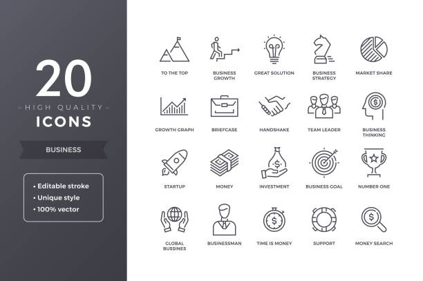 Business Line Icons vector art illustration