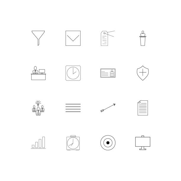 Business linear thin icons set. Outlined simple vector icons vector art illustration