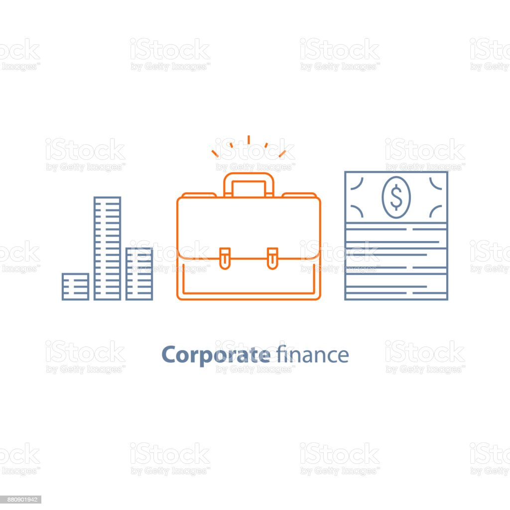 Business loan, company expenses, corporate finance, briefcase line icon, investment dividends vector art illustration