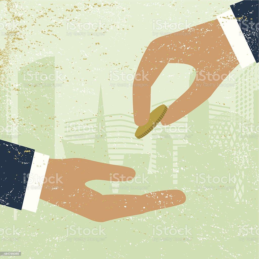 Business loan money finance economy bank hand vector art illustration