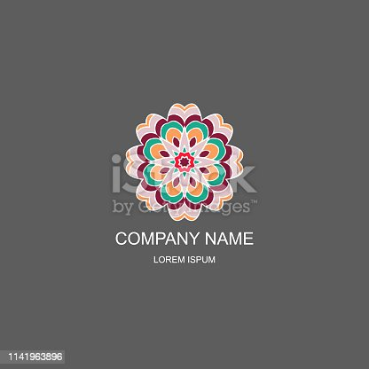 Business logo. Floral, Oriental logo. The logo of the company in an Oriental-style, henna style. Colorful round logo