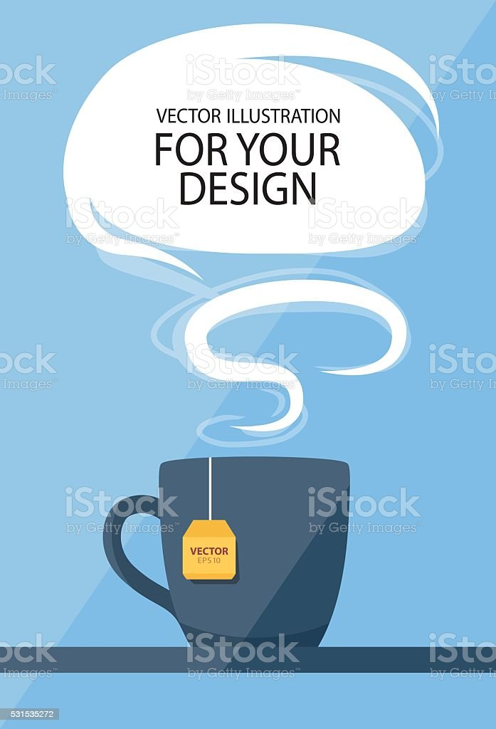 Business lunch concept. Cup of tea with speech balloon vector art illustration