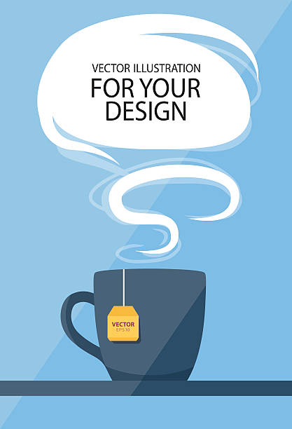 ilustrações de stock, clip art, desenhos animados e ícones de almoço de negócios conceito. copo de chá com balão de fala - pausa para café
