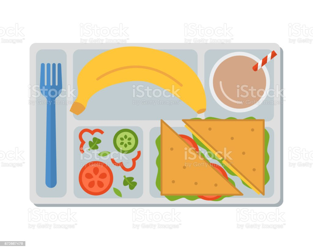Business lunch on a tray vector art illustration