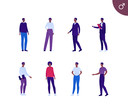 Business male african american ethnic people set. Vector flat person illustration. Group of corporate men in different cloth and poses. Design element for banner, poster, background, sketch, art.