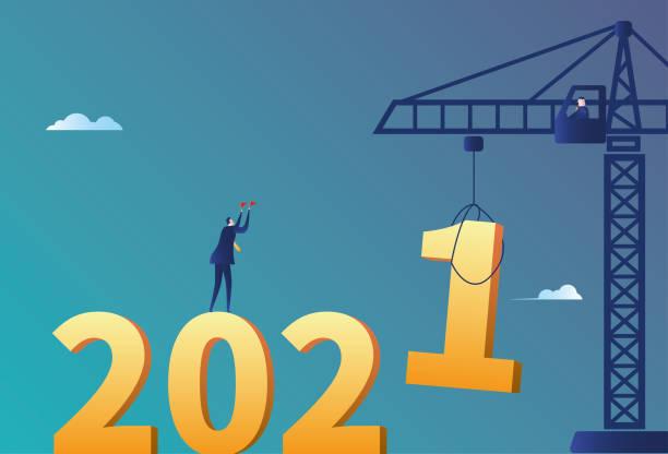 illustrations, cliparts, dessins animés et icônes de installation de grue de tour de commande masculine d'affaires 2021 - calendrier de l'avant