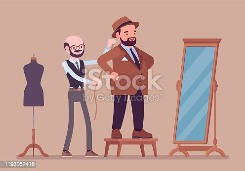 Business male suit fitting with a tailor. Adult round body type man selecting a formal jacket at mirror, male seamstress pinning session for taking measurements. Vector flat style cartoon illustration